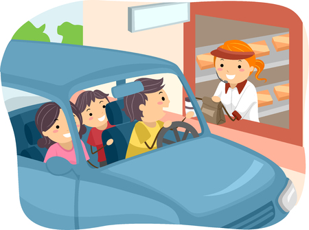 thru: Stickman Illustration of a Family Getting Food at a Drive Thru Restaurant