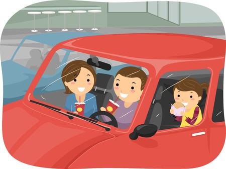 pareja comiendo: Stickman Ilustración de una Familia que come la comida rápida dentro de su coche