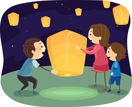 lantern: Stickman Illustration of a Family Lighting Up a Lantern