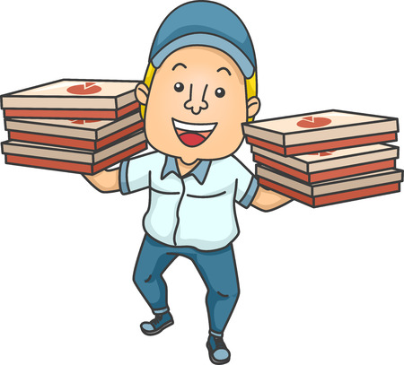 man carrying: Illustration of a Delivery Man Carrying Boxes of Pizza in Both Hands