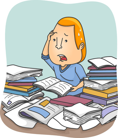 overwhelmed: Illustration of a Man Being Overwhelmed with Information Stock Photo