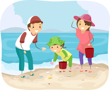 family vacations: Stickman Illustration of a Family Picking Shells at the Beach