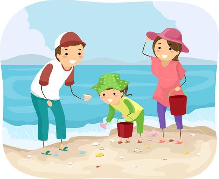 actividad: Stickman Ilustración de una familia Recogiendo conchas en la playa