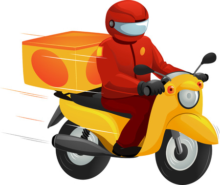 Illustration of a Delivery Man Driving a Motorcycle Stock Photo