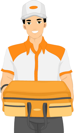 man carrying: Illustration of a Delivery Man Carrying a Suitcase