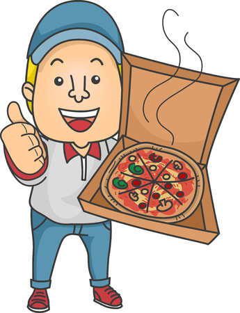 open box: Illustration of a Delivery Man Holding an Open Box of Pizza