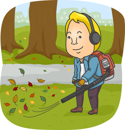 blower: Illustration of a Man Using a Leaf Blower to Clear His Yard of Leaves
