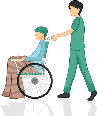 Illustration of a Male Nurse Pushing His Patients Wheelchair Stock Photo