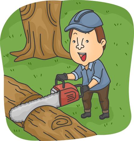 arboles de caricatura: Ilustración de un registrador de corte un árbol caído con una motosierra Foto de archivo
