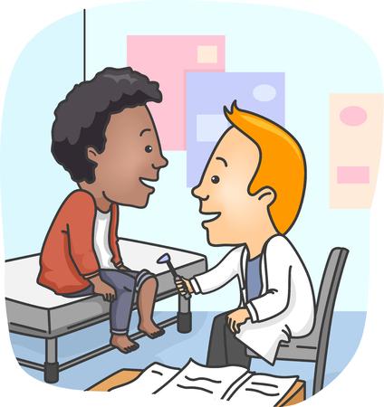 pacjent: Ilustracja mężczyzny lekarz Hitting kolanach Pacjenta z młotek neurologiczny Zdjęcie Seryjne