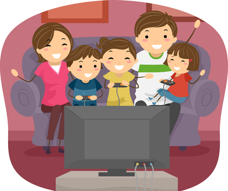 playing video games: Stickman Illustration of a Family Playing Video Games Together