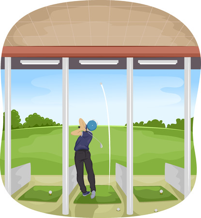 driving range: Illustration of a Man Playing Golf in a Driving Range