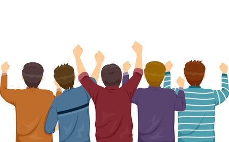 spectator: Rear View Illustration of Men Cheering Wildly