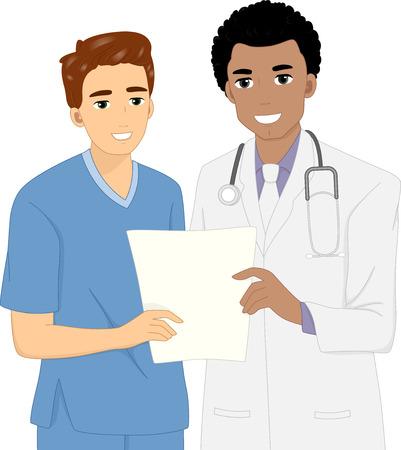 enfermeras: Ilustración de un médico y una enfermera que discuten Paciente Información Médica