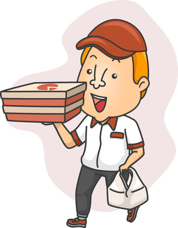 pizza man: Illustration of a Delivery Man Carrying Boxes of Pizza Stock Photo