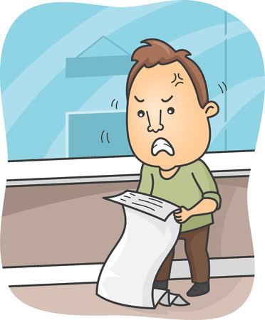 Illustration of a Man Angry Over the Numbers on His Billing Statement