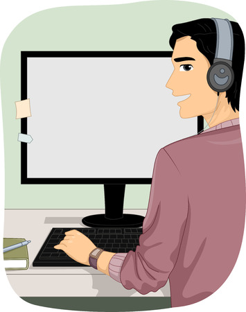 listening: Illustration of a Man Wearing Headphones While Using His Computer