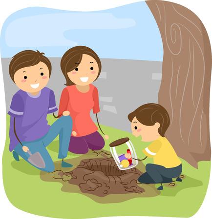 bonhomme allumette: Illustration Stickman d'une famille Enterrer une Time Capsule Ensemble Banque d'images