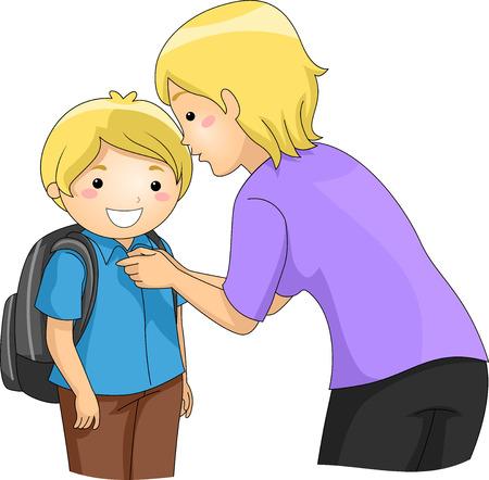 mama e hijo: Ilustración de una Madre ayudando a su Hijo Botón encima de su camisa
