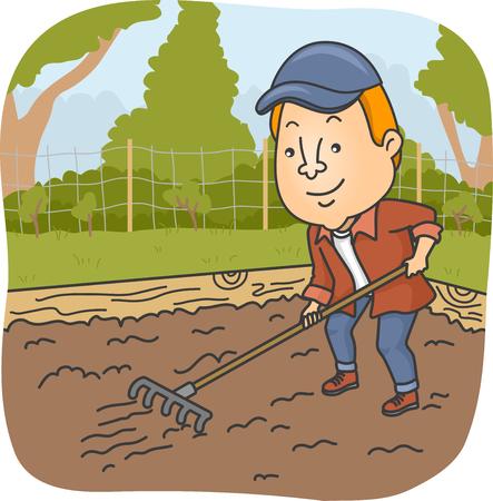 raking: Illustration of a Man Raking the Soil on His Garden