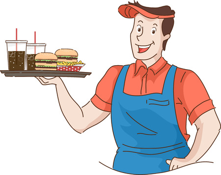 food tray: Retro Illustration of a Waiter Holding a Tray of Fast Food Stock Photo