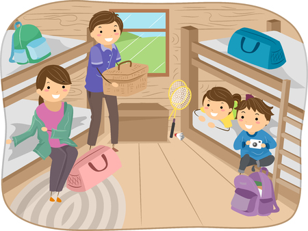 cabin: Stickman Illustration of a Family Inside a Camp Cabin