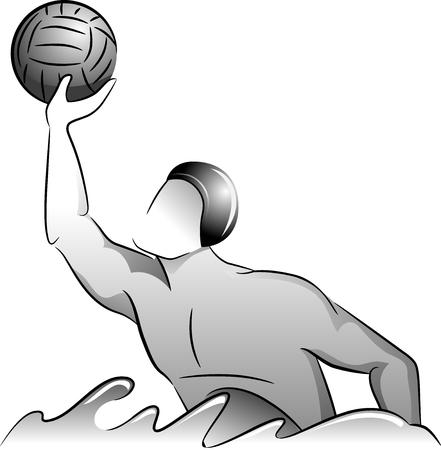 waterpolo: Escala de grises Ilustración de un jugador de polo del agua para atrapar la pelota