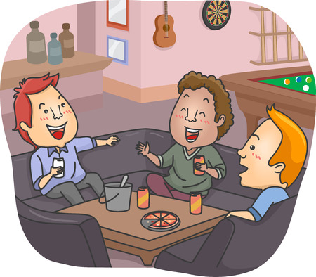male bonding: Illustration of a Group of Men Having a Drink at Their Man Cave