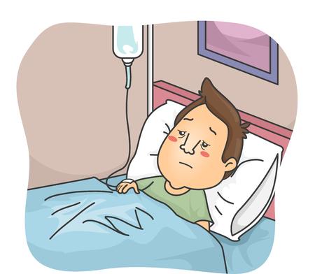enfermo: Ilustración de un hombre enfermo Enganchado a una Gota a gota Foto de archivo
