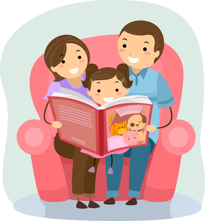 kids reading: Stickman Illustration of a Family Reading a Book Together Stock Photo