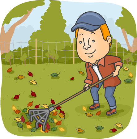 raking: Illustration of a Man Raking the Leaves on His Garden