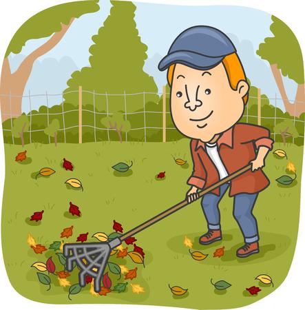 Illustration of a Man Raking the Leaves on His Garden