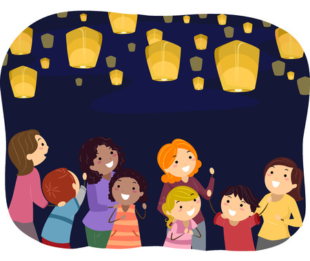 woman floating: Stickman Illustration of Parents Watching Floating Lanterns with Their Kids Stock Photo