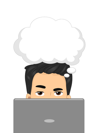 cartoon bubble: Illustration of a Man Using a Laptop While a Thought Bubble Hovers Over His Head