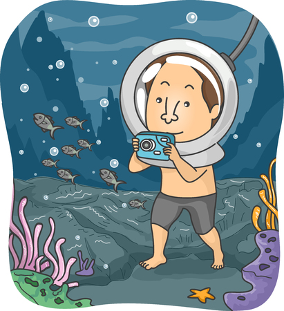 walk: Illustration of a Man Using an Underwater Camera to Take Pictures Under the Sea