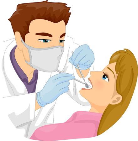 환자의 치아에 근무하는 남성 치과 의사의 그림