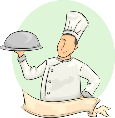 him: Illustration of a Male Chef with a Ribbon in Front of Him Carrying a Food Dome