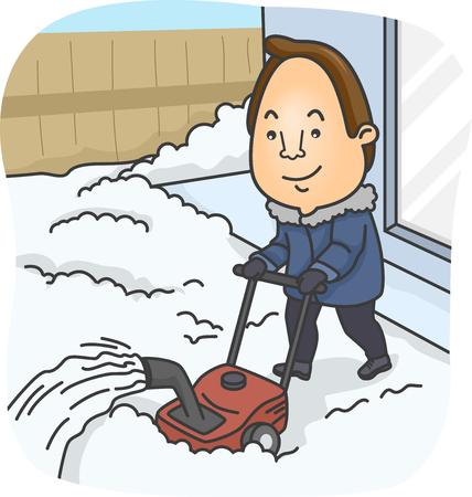 transparente: Ilustración de un hombre que usa un ventilador de nieve para limpiar su patio delantero