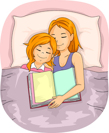 kid reading: Illustration of a Mother Who Fell Asleep After Reading a Book to Her Daughter