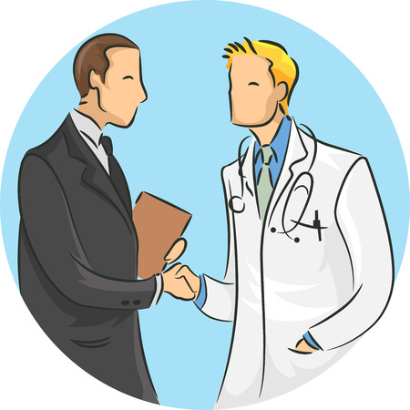 Illustration of a Doctor Shaking Hands with a Medical Sales Representative Stock Photo
