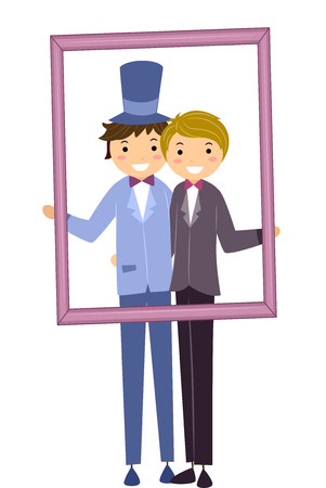 homosexual sex: Stickman Illustration of a Gay Couple Holding a Wedding Frame