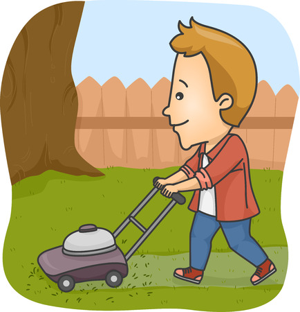 lawn mowing: Illustration of a Man Using a Lawn Mower to Trim the Grass on His Yard