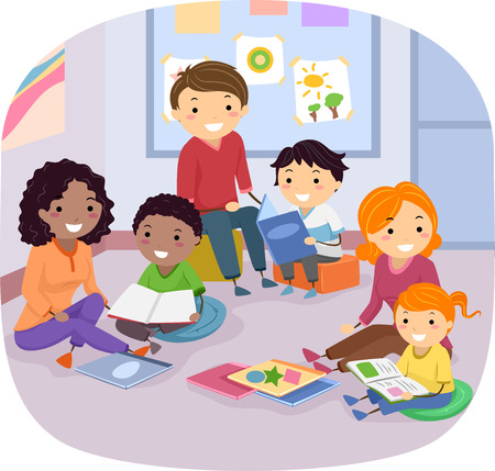 kids reading: Stickman Illustration of Families Reading Books to Their Kids Stock Photo