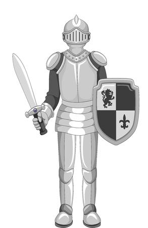 knight armor: Illustration of a Knight in Full Armor Holding a Sword