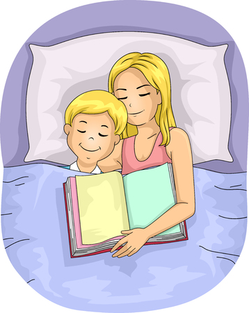 fell: Illustration of a Mother Who Fell Asleep After Reading a Book to Her Son