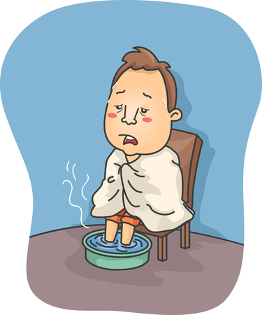 sick: Illustration of a Man Sick with Flu Soaking His Feet in Hot Water Stock Photo