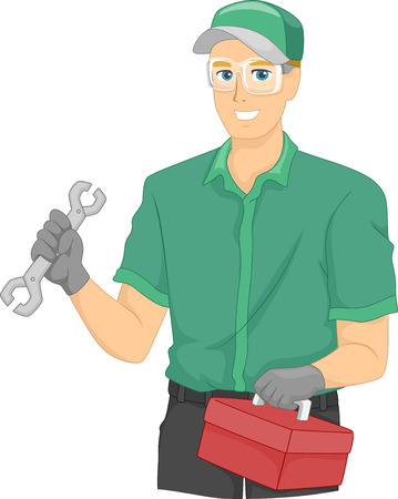 Illustration of a Mechanic Carrying a Tool Box Banco de Imagens