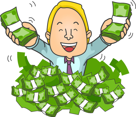 Illustration von einem Geschäftsmann Ertrinken in einem Haufen Geld Standard-Bild