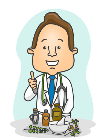 recommending: Illustration of a Male Doctor Doing the Thumbs Up in Front of Herbal Medicines