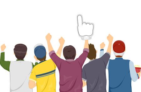 sports fan: Rear View Illustration of Sports Fan Cheering on Their Favorite Team